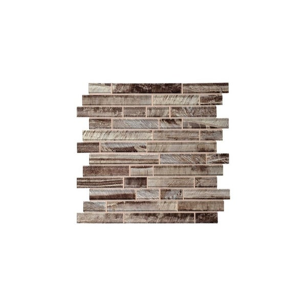 Daltile TE1RANDMP Tiger Eye - Random Linear Mosaic Wall Tile - Polished Glass Visual