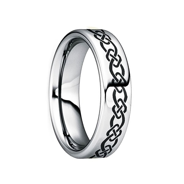 QUINTINUS Engraved Black Celtic Knot Polished Tungsten Wedding Ring by Crown Ring - 6mm