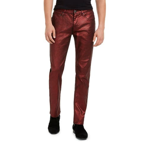 INC Mens Pants Red Size 40x32 Foil Shimmer Slim Fit Straight Stretch