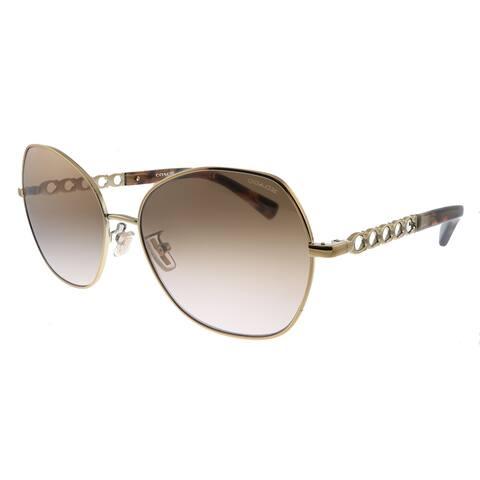 Coach L1130 HC 7112 933113 Womens Rose Gold Frame Brown Gradient Lens Sunglasses