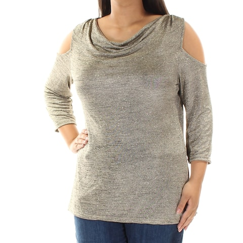 MSK Womens Silver Cut Out 3/4 Sleeve Scoop Neck Top Size: L