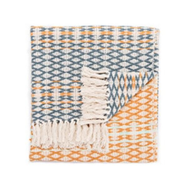 """Orange/Blue Cotton Throw - SPR03 50""""x60"""""""
