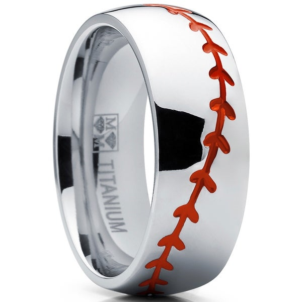 Oliveti Titanium Baseball Ring Band with Red Stitching, Dome Comfort Fit 8mm. Opens flyout.