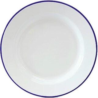 """Crow Canyon V20BLU Vintage Dinner Plate, 10"""" D, Blue Rim"""
