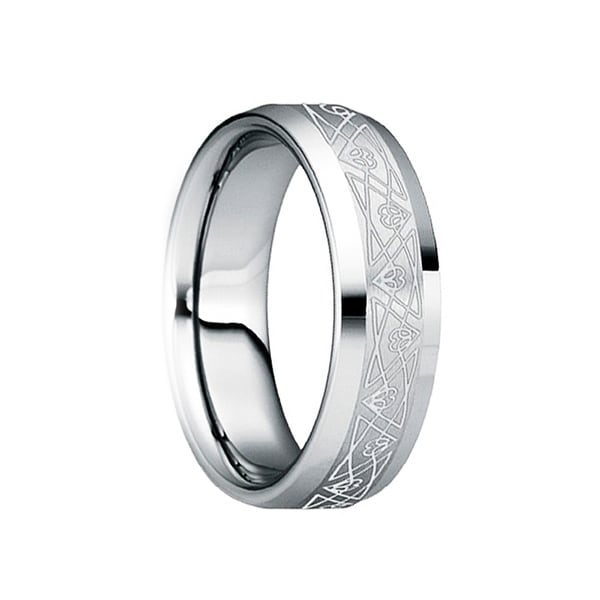 SCAEVOLA Beveled Polished Tungsten Band with Engraved Triangular Pattern by Crown Ring - 6mm
