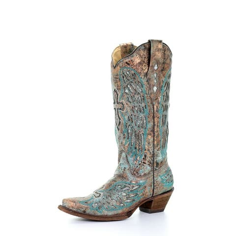 """Corral Western Boots Womens Wings Cross Inlay 13"""" Turquoise"""