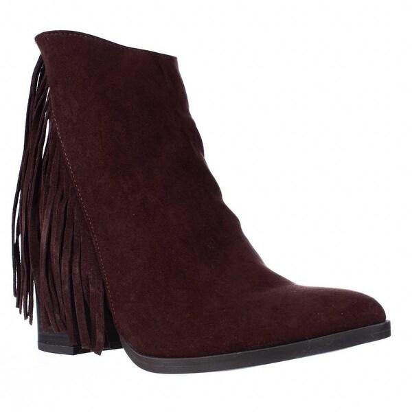 madden girl Shaare Side Fringe Western Boots, Chestnut - 8.5 us
