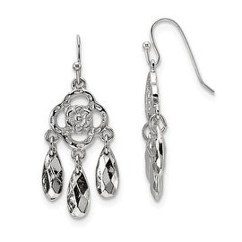 Silvertone Dangle Shepherds Hook Earrings