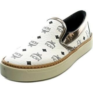 MCM Visetos Slipp On Round Toe Leather Sneakers