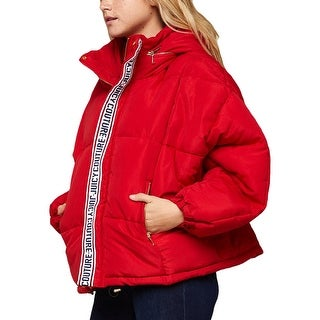 Link to Juicy Couture Black Label Women's Hooded Logo Cropped Puffer Jacket Coat Similar Items in Women's Outerwear