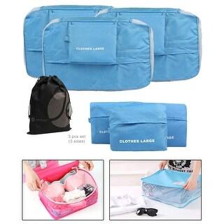JAVOedge Blue 3 Piece Bundle Nylon Travel Packing / Home Storage Organizer Cubes (Small, Medium, Large) with Bonus Bag