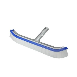"18"" Blue Standard Curve Nylon Bristle Wall Brush with Aluminum Support - White"