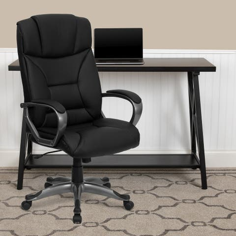 High Back LeatherSoft Executive Swivel Office Chair w/Lip Edge Base & Arms
