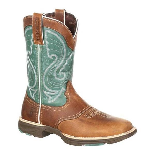 Durango Boot Women's DRD0224 Ultra-Lite Emerald Saddle Cowgirl Boot Tan/Emerald Full Grain Leather/Synthetic