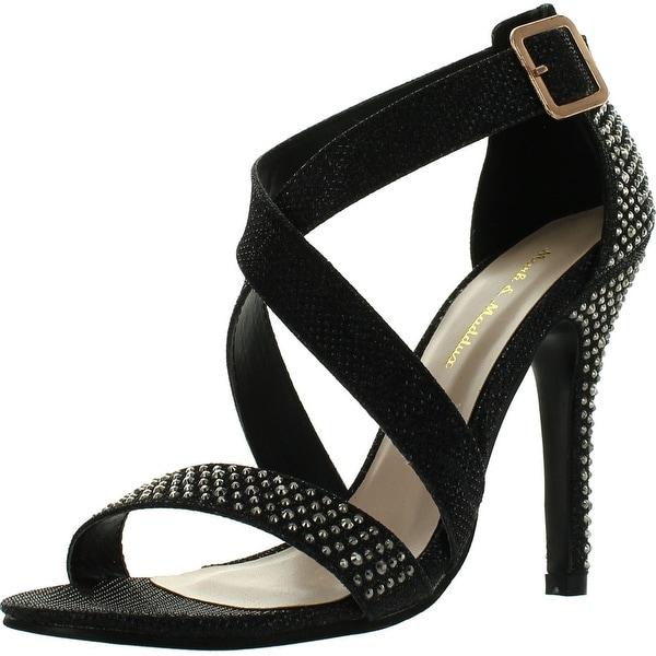 Mark & Maddux Womens Common-01A Rhinestoned Netted-Glitter Dress Sandals