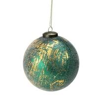 "5"" Metallic Gold and Emerald Green Frosted Christmas Ornament"