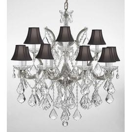 Swarovski Crystal Trimmed Chandelier Lighting With Black Shades