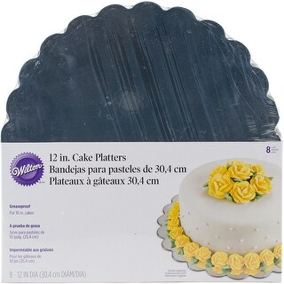 "Cake Platters-12"" Round Silver 8/Pkg"