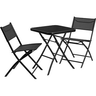 Offex 23.75'' Square Tempered Glass Metal Outdoor Table with 2 Textilene Fabric Folding Chairs