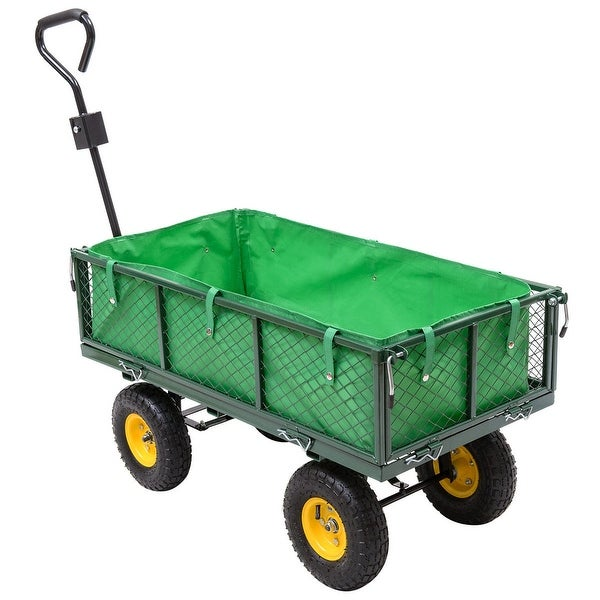 Costway Garden Carts And Wagons 800LB Utility Outdoor Yard Lawn Yard Buggy  Trailer Steel