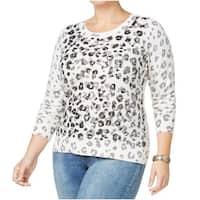 INC White Blue Womens Size 1X Plus Sequin Animal Print Sweater Top