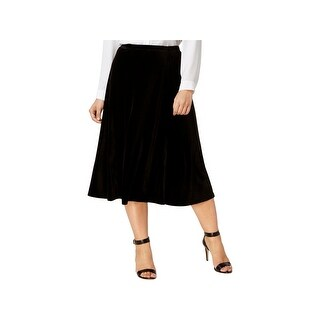 NY Collection Womens Plus Midi Skirt Velvet Night Out