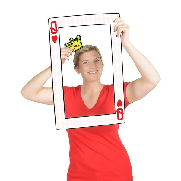 "Club Pack of 12 Playing Card Digital Photo Fun Frame with Handheld Props 23.5"" - N/A"