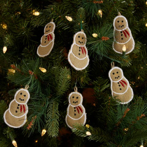 "Burlap Snowman 4"" Ornament Set of 6 - Ornament Set"