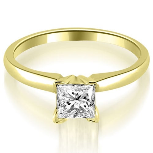0.75 cttw. 14K Yellow Gold Classic Princess Cut Solitaire Diamond Ring