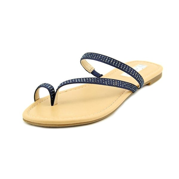 INC International Concepts Mistye 2 Women Open Toe Canvas Blue Slides Sandal