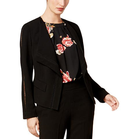 Nine West Womens Open-Front Blazer Cut-Out Long Sleeves