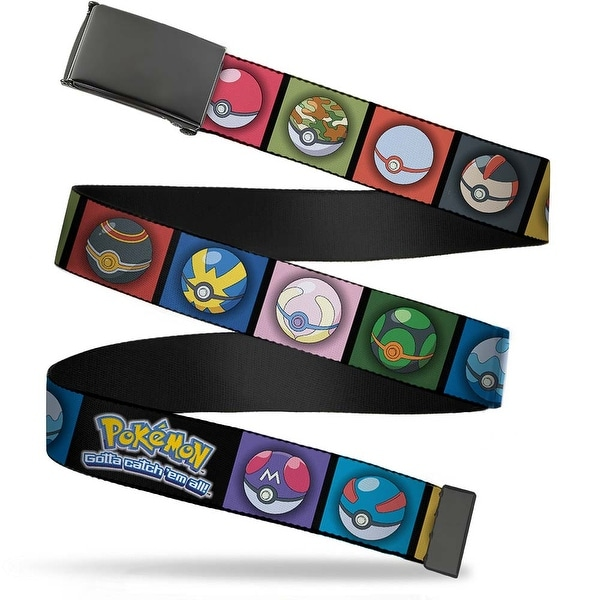 Blank Black Buckle 15 Poke Balls Blocks Black Multi Color Webbing Web Belt