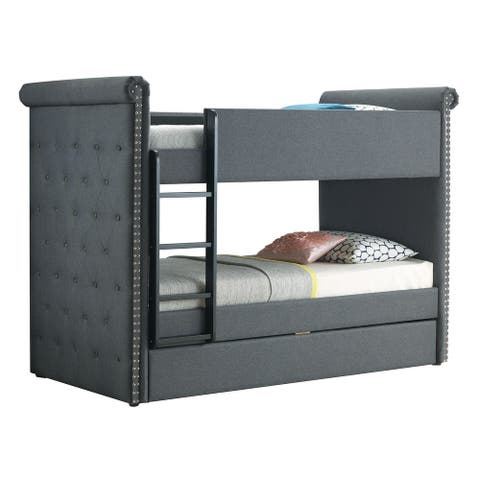 Chesterfield Design Twin Size Bunk Bed with Nailhead Trim, Gray and Black