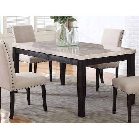 Best Master Furniture 64 Inch Antique Black Marble Rectangular Dining Table