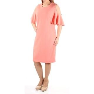 CALVIN KLEIN $134 Womens 1070 Orange Short Sleeve Sheath Wedding Dress 14 B+B