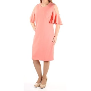 Womens Coral Short Sleeve Knee Length Sheath Wedding Dress Size: 4