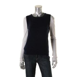 Private Label Womens Cashmere Ribbed Trim Sweater Vest