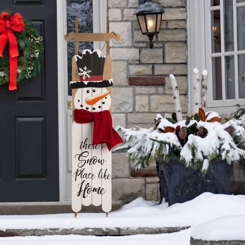 "Glitzhome 42""HWooden Christmas Snowman Porch Sign"