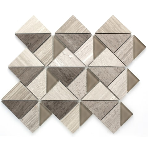 TileGen. Geometric Triangle Random Sized Marble Mosaic Tile in Beige Wall Tile (10 sheets/9.6sqft.)