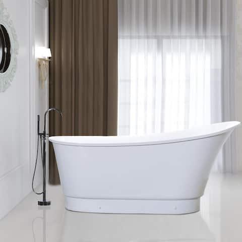 Vanity Art 67.3 Inch Freestanding Acrylic Bathtub Stand Alone Soaking Tub with Chrome Finish Round Overflow & Pop-up Drain