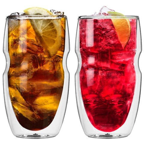 Serafino Double Wall 16 Oz Iced Tea & Coffee Glasses