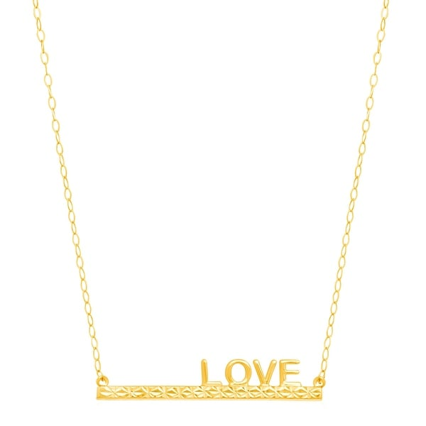 Just Gold 'Love' Horizontal Bar Necklace in 14K Gold - Yellow