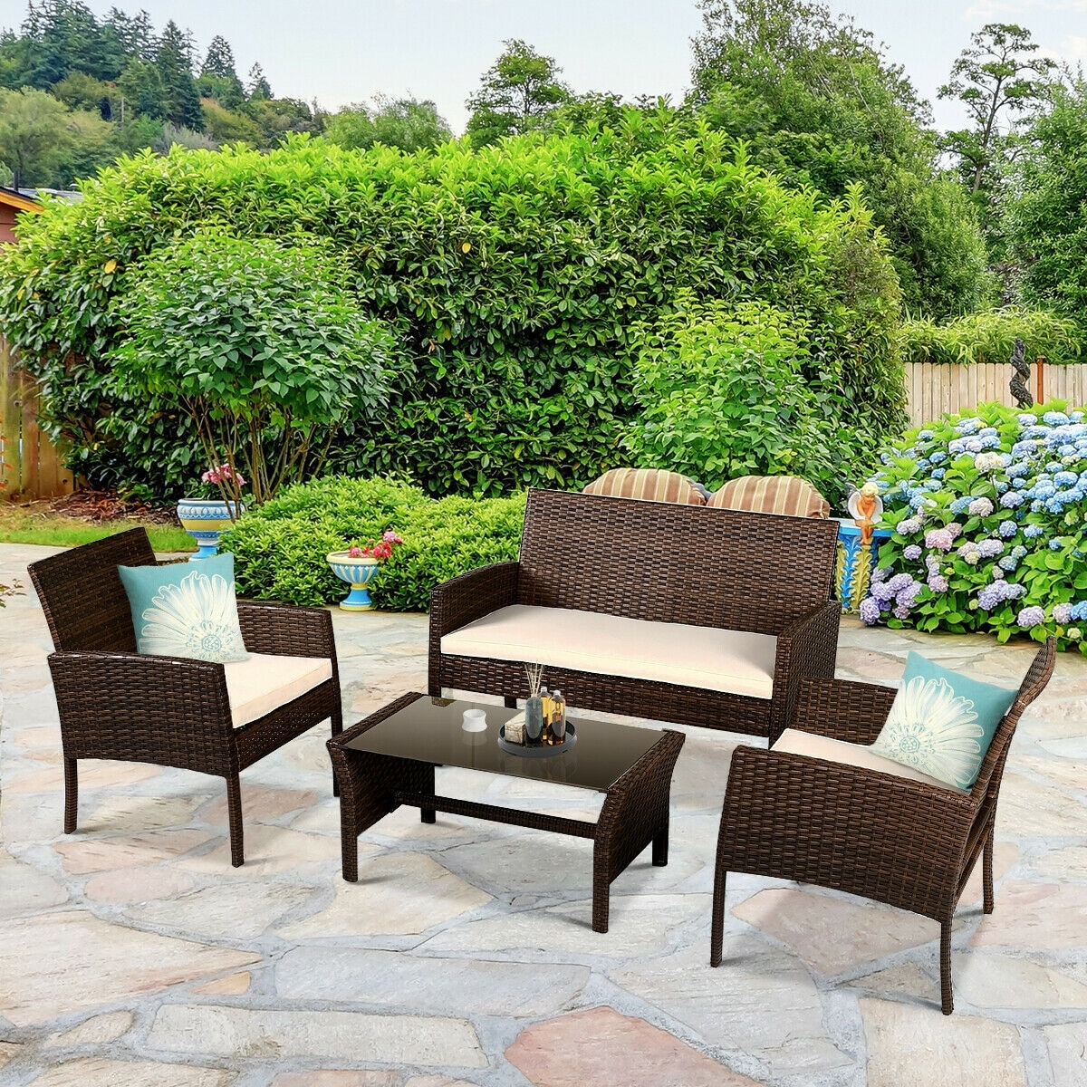 Patio Furniture Wicker Rattan Sofa Set
