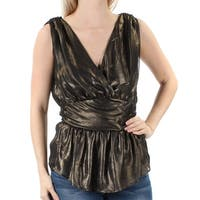 FRENCH CONNECTION Womens Gold Ruffled Sleeveless V Neck Party Top  Size: 4