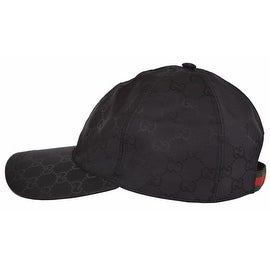 Gucci Men's 387578 Black Nylon GG Guccissima Web Stripe Baseball Cap Hat M
