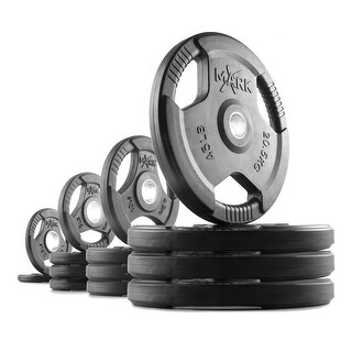 XMark rubber coated tri-grip Olympic weight plates - 245 lbs. includes (2) 2.5 lb., (4) 5 lb., (4) 10 lb., (4) 45 lb. plates.