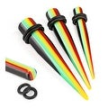 Rasta Striped Solid Acrylic Taper with O-Ring (Sold Individually) - Thumbnail 0