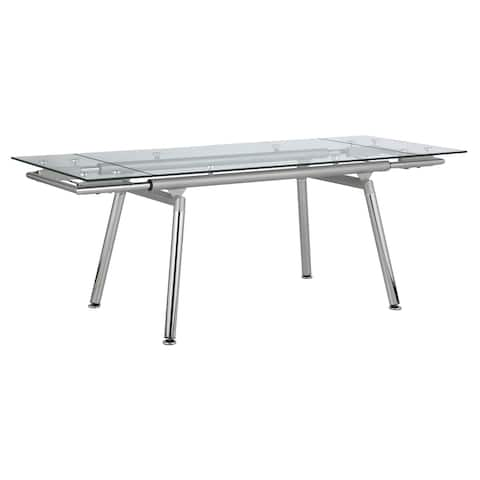 Sonnett Chrome and Clear Expandable Glass Top Dining Table
