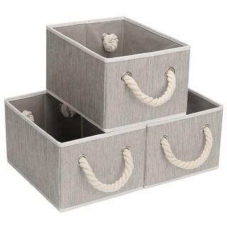 StorageWorks Storage Bin Box with Rope Handle, 3-Pack, Gray, Medium