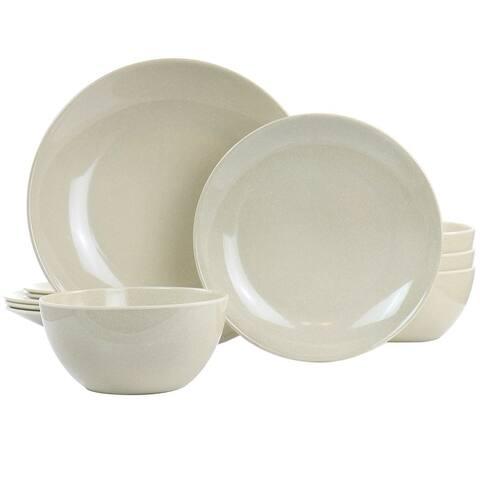 Martha Stewart 12 Piece Melamine Dinnerware Set in Taupe